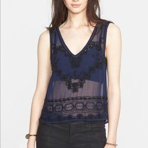 Free People Sheer Beaded Run With It Cropped Top